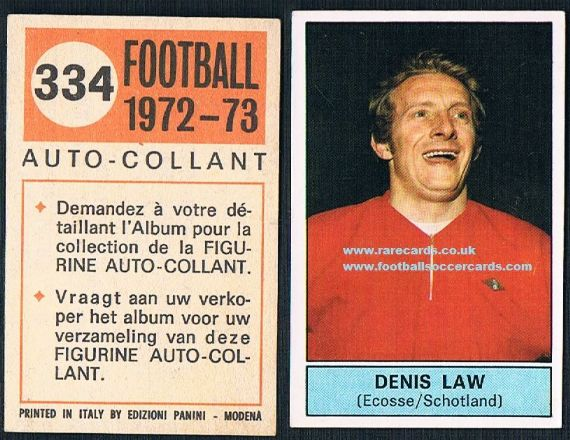 1972 Denis Law 334 Belgian Panini
